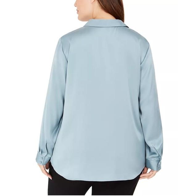 Eileen Fisher Women's Plus Size Classic Silk Shirt Blue Size XXX-Large