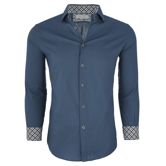 Tom Baine Men's Slim Fit Long Sleeve Casual Button Down Shirt