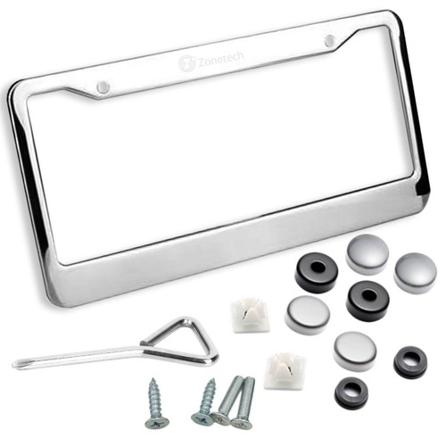 Zone Tech Chrome Stainless Steel License Plate Tag Frame Holder Cover