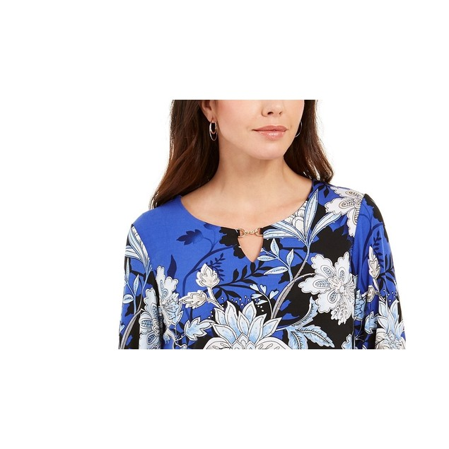 JM Collection Women's Printed Hardware-Keyhole TunicNavy Size X-Small