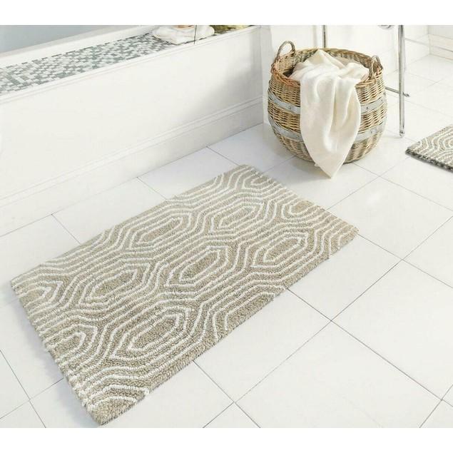 Reversible Floor Cover Oriental Grain Style Brown Bath Mat Set of 2 20x32
