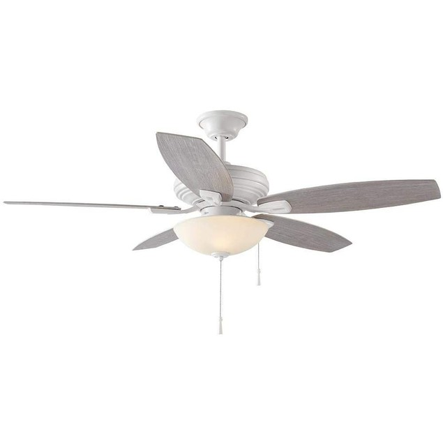 """Hampton Bay North Pond 52"""" LED Outdoor Ceiling Fan with Light, Matte White"""