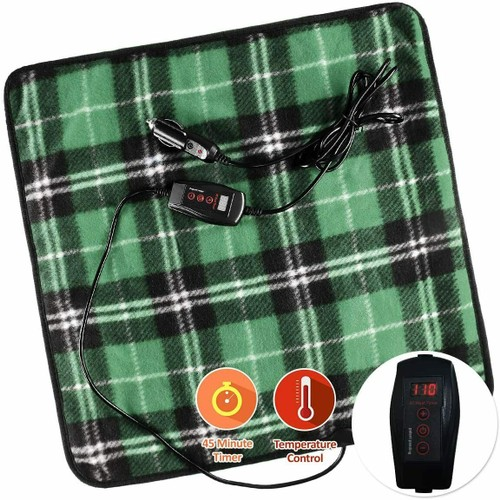 Zone Tech Car Electric Mini Heated Travel Blanket Pad Fleece Green Plaid