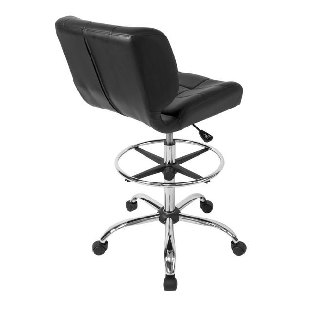Offex Black Crest Drafting Chair - Chrome/Black