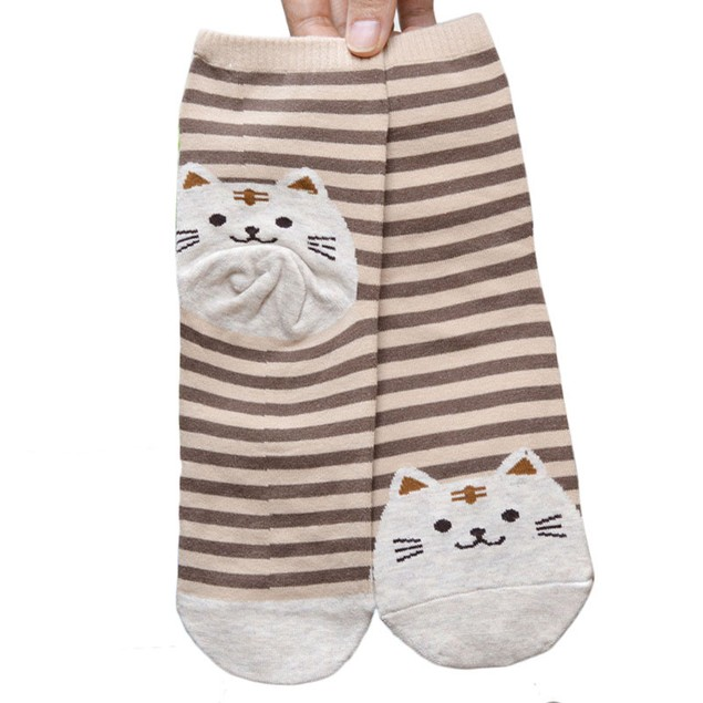 Cotton Striped Cat Crew Socks - Choose Your Color