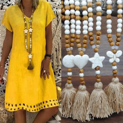 Female Bohemian Linen Dress Pendant Tassel Sweater Chain