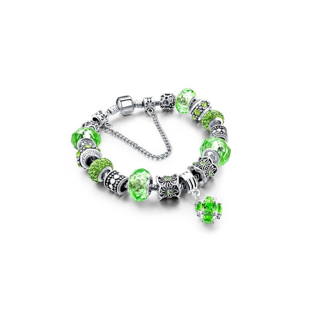 Green Crystal Bracelet with Austrian Crystal And Ball Charm