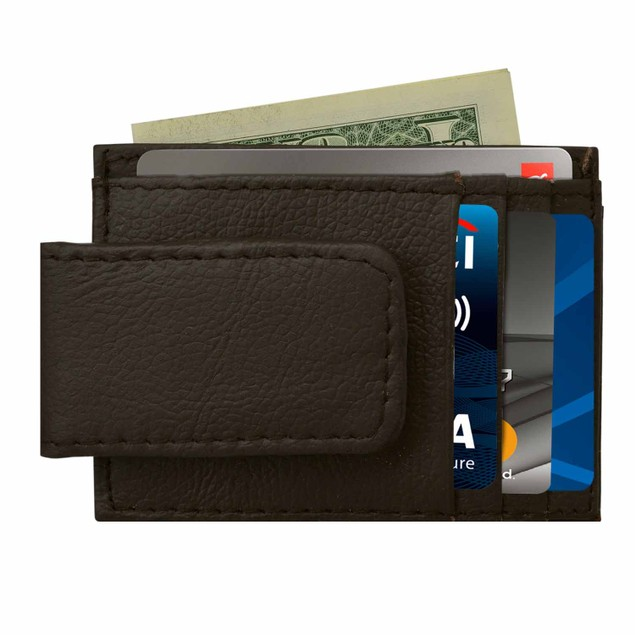 Genuine Leather Magnetic Money Clip With Credit Cards and ID Slots