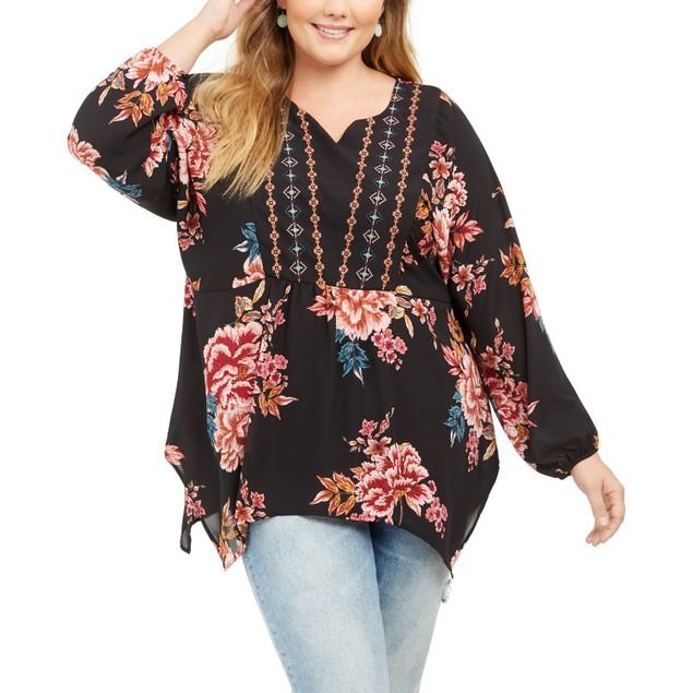 Style & Co Women's Floral Blouse Black Size 3X