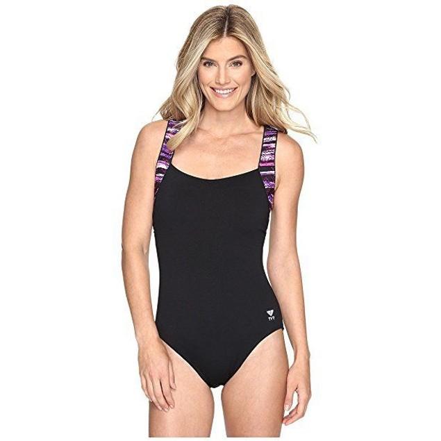 TYR Women's Bellvue Stripe Square Neck Control Fit Swimsuit, SZ:8