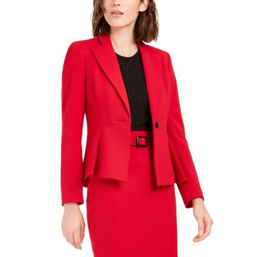 Bar III Women's Crepe Peplum Blazer Red Size 2