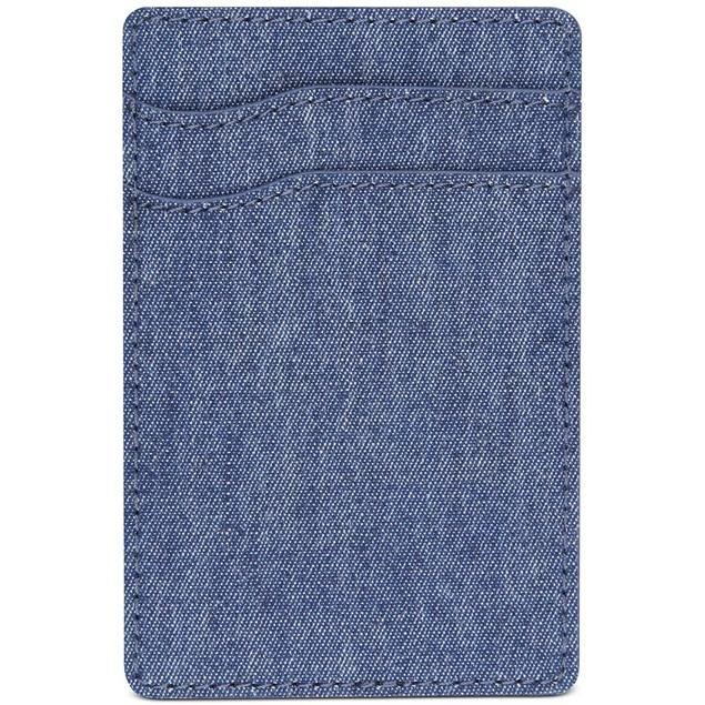 Bespoke Men's Chambray Adhesive Card Case Dark Blue Size Regular