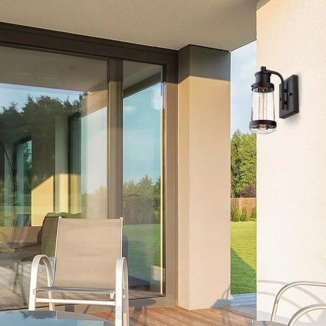Globe Electric Bennett 1-Light Matte Black Finish Outdoor Wall Lantern
