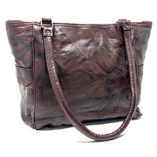 Patches Cowhide Hobo Shoulder Leather Purse for Ladies