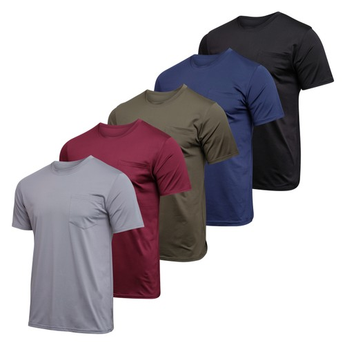5 Pack: Boys Active Dry Fit Pocket T- Shirts