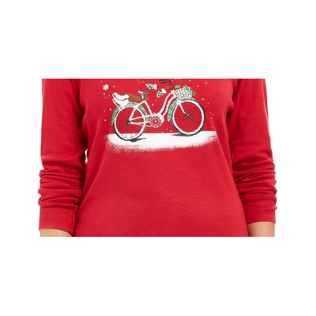 Karen Scott Women's Snow Bike Cotton Top Bright Red Size Medium