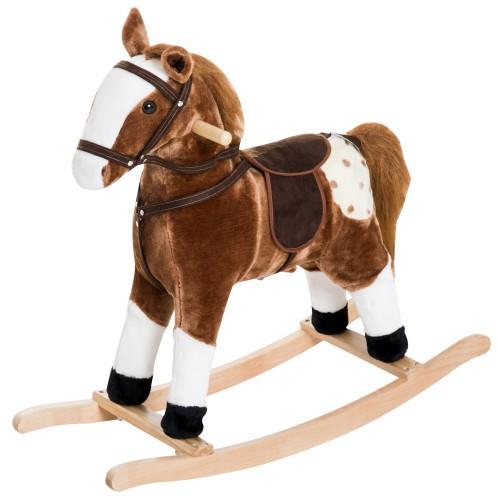 Qaba Kid Plush Rocking Horse Ride-on Baby Girl Toy Pony w/ Realistic Sound