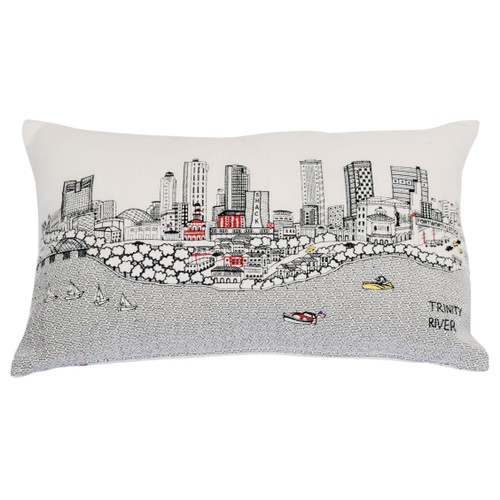 Spura Home FORT WORTH Skyline Embroidered Wool Cushion Day/Night Setting