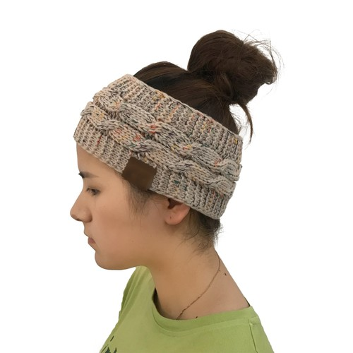 Ladies Colored Dot Knitted Twist Ponytail Hat