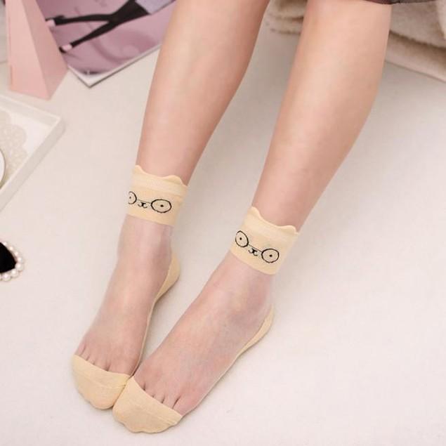 2pair Ultrathin Transparent Beautiful Crystal Lace Elastic Short Socks