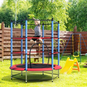 Costway Round Trampoline 55'' Exercise W/ Safety Pad Enclosure