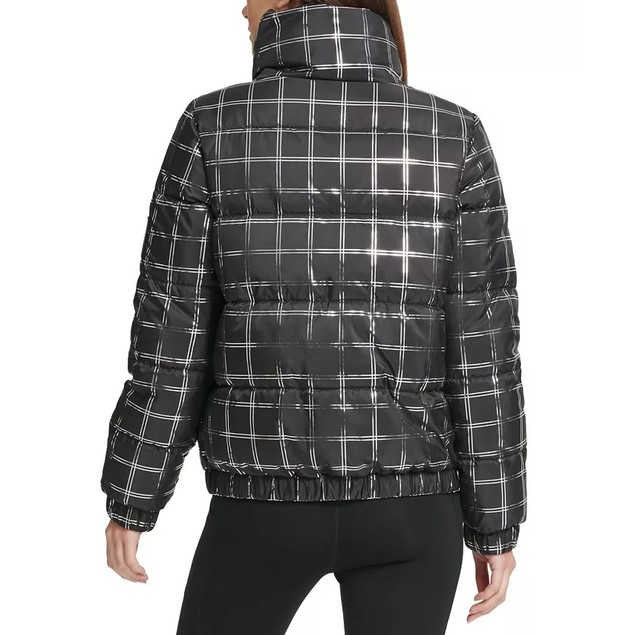 DKNY Women's Sport Metallic Plaid Puffer Jacket Gray Size Small