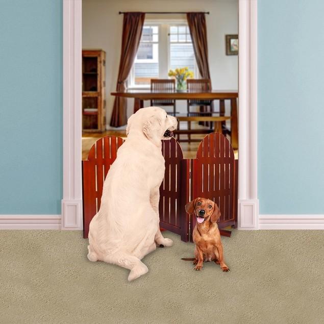 Wooden Folding Stand Alone Pet Dog Gate Walnut Freestand Pet Fence