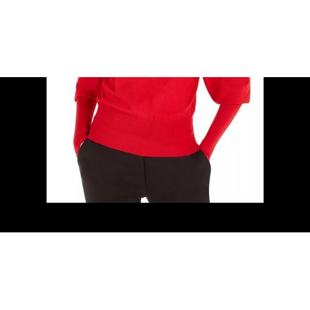 BCX Juniors' Buttoned Turtleneck Sweater Red Size Medium