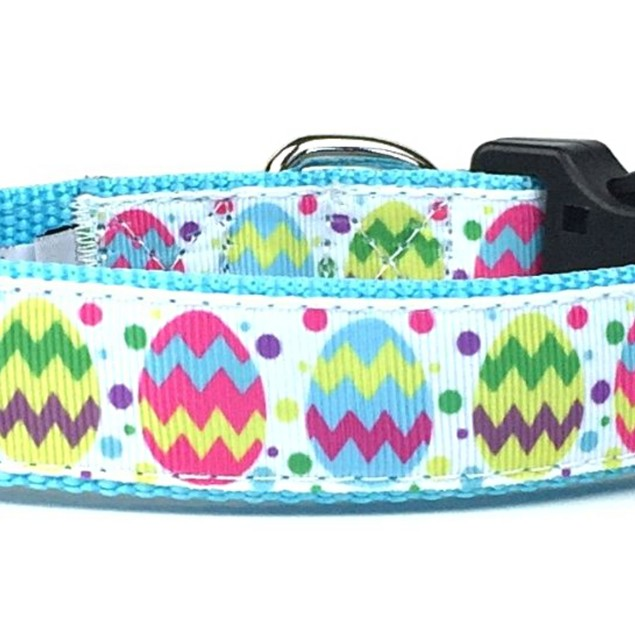 Midlee Decorated Easter Egg Nylon Ribbon Dog Collar (Medium, Blue)