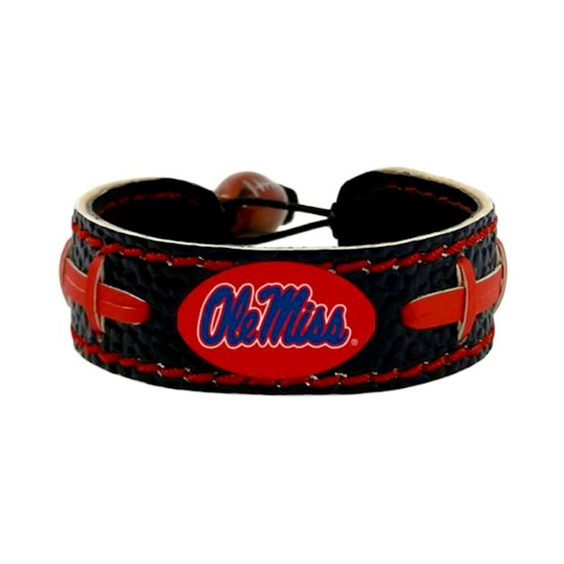 OLE Miss Rebels Team Color NCAA Gamewear Leather Football Bracelet