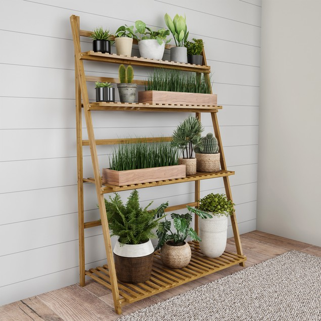 Ladder Plant Stand-4 Tier Freestanding Bamboo Storage Shelf-Foldable