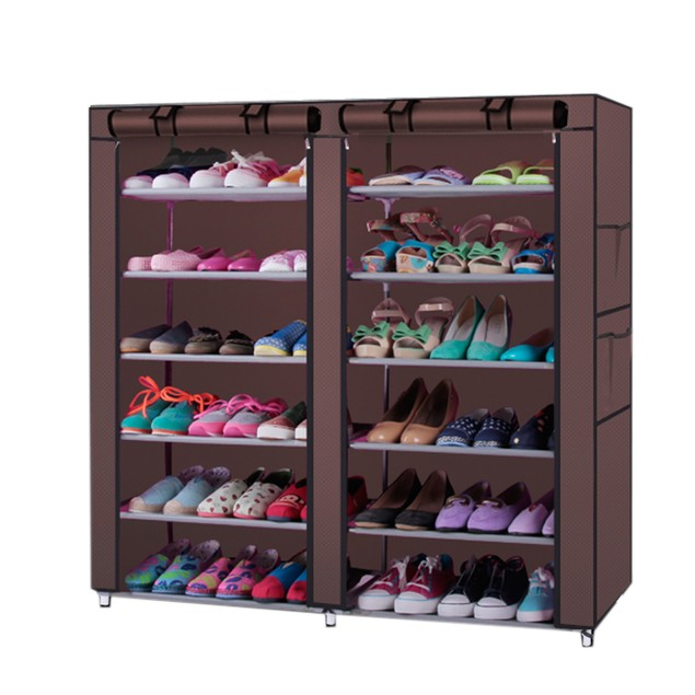 6-Row 2-Line 12 Lattices Non-woven Fabric Shoe Rack