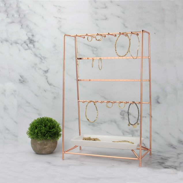 Rose Gold Jewellery Stand with Ceramic Dish | MandW