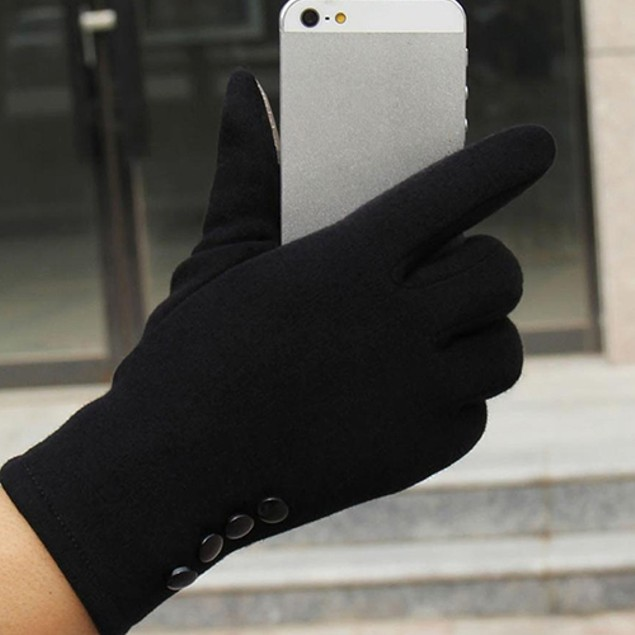 Women Button Decor Warm Soft Windproof Gloves