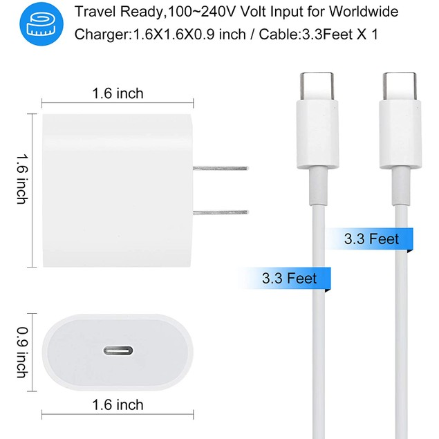 18W USB C Fast Charger by NEM Compatible with Xiaomi Redmi Note 9 Pro - White