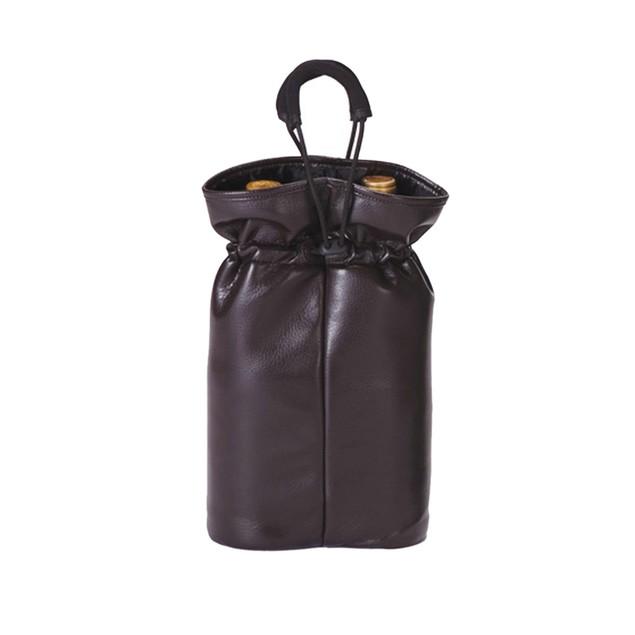 Picnic Plus Double Bottle Pouch Brown Faux Leather
