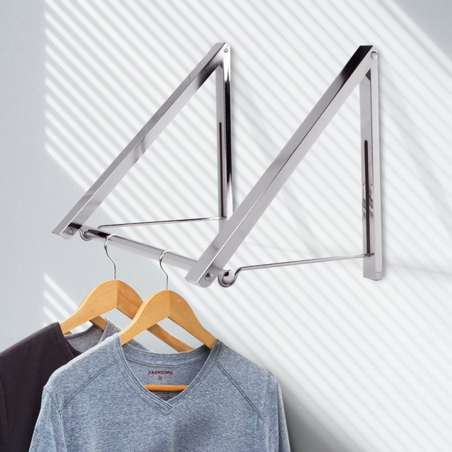 Wall Mounted Folding Clothes Hanger MandW Double