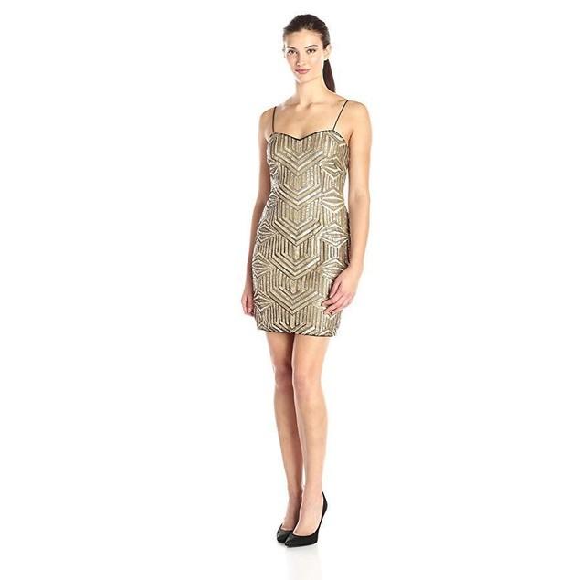 Aidan by Aidan Mattox Women's Sleeveless Beaded Cocktail Dress, Gold, 8