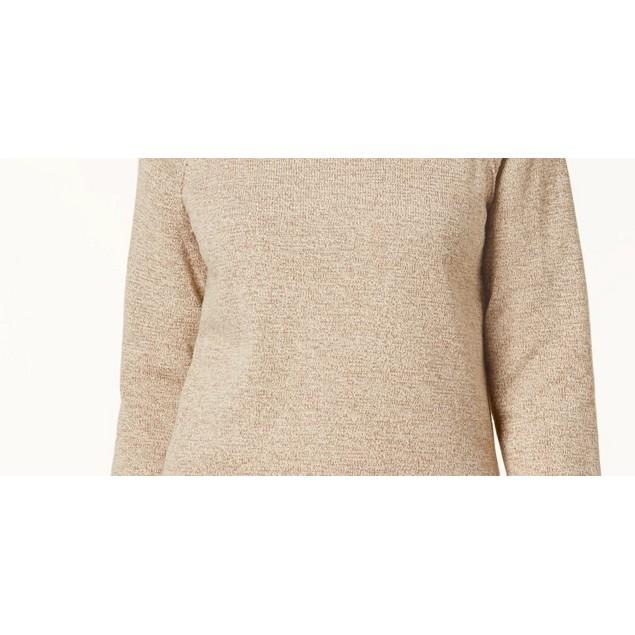 Karen Scott Women's Marled Cotton Turtleneck Sweater Brown Size Medium