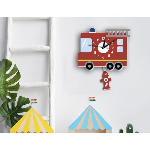 Cartoon Wall Clock American Fire Engine Shape Slient Wall Hanging Clock
