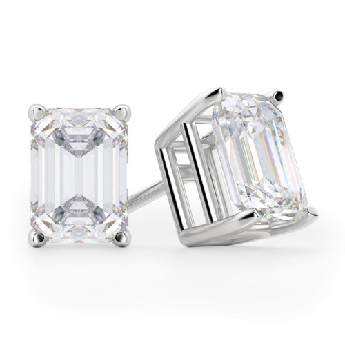 Solid Sterling Silver Emerald Cut Studs