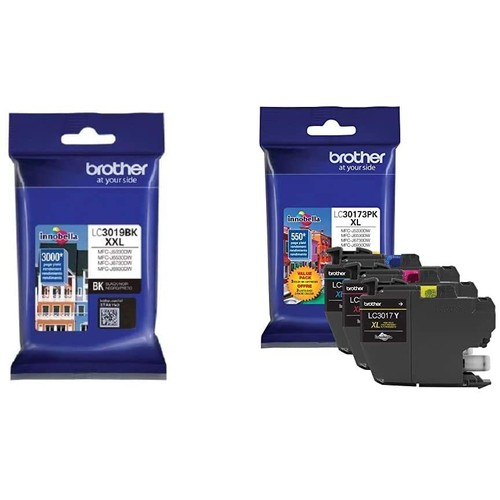 Brothers Brother LC3019BK Super High Yield Black Ink Cartridge & Printer LC30173PK High Yield XL 3 Pack Ink Cartridges- 1 Ea: Cyan/Magenta/Yellow Ink