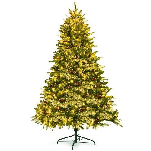 Costway 6.5Ft Pre-lit Snow Flocked Hinged Artificial Christmas Spruce Tree