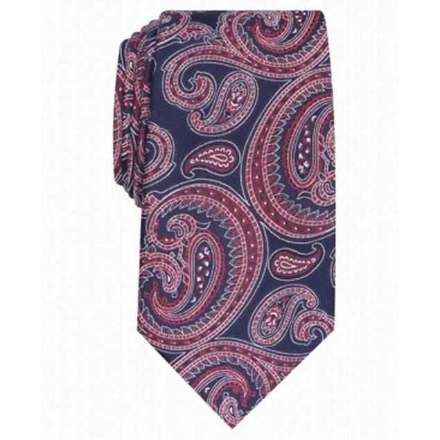 Tasso Elba Men's Paisley Silk Tie Red Size Regular