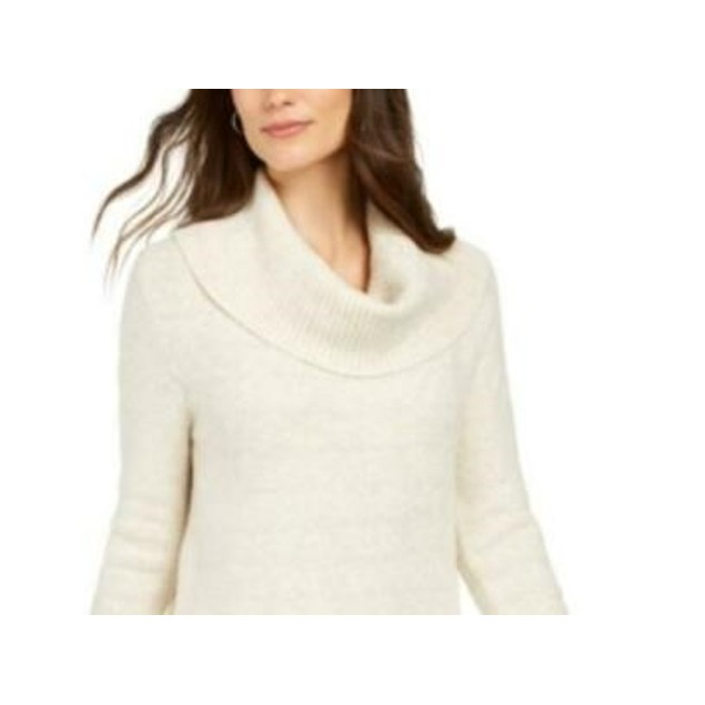 Style & Co Women's Lurex Cowl-Neck Sweater Beige Size XX Large