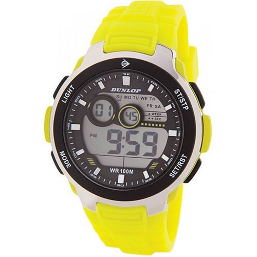 Dunlop DUN232G12 Plastic Case Silver/Neon Yellow Rubber Mineral Men´s Watch