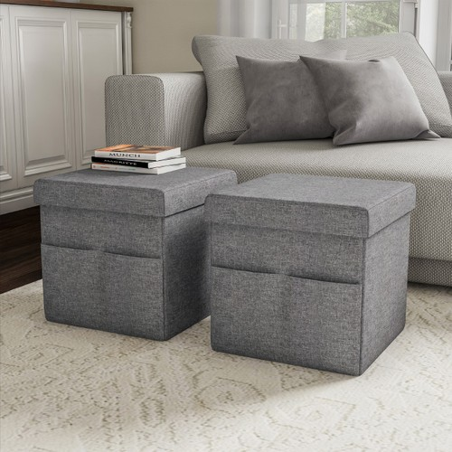 Foldable Storage Cube Ottoman with Pockets  Multipurpose Footrest
