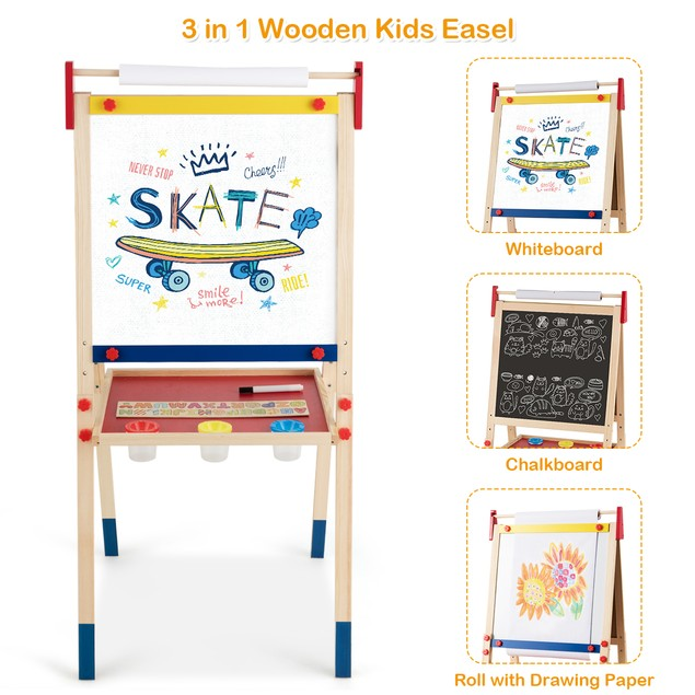 All-in-One Wooden Kid's Art Easel Height Adjustable Paper Roll