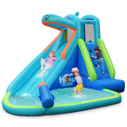 Costway Inflatable Kids Hippo Bounce House Slide Climbing Wall Splash Pool