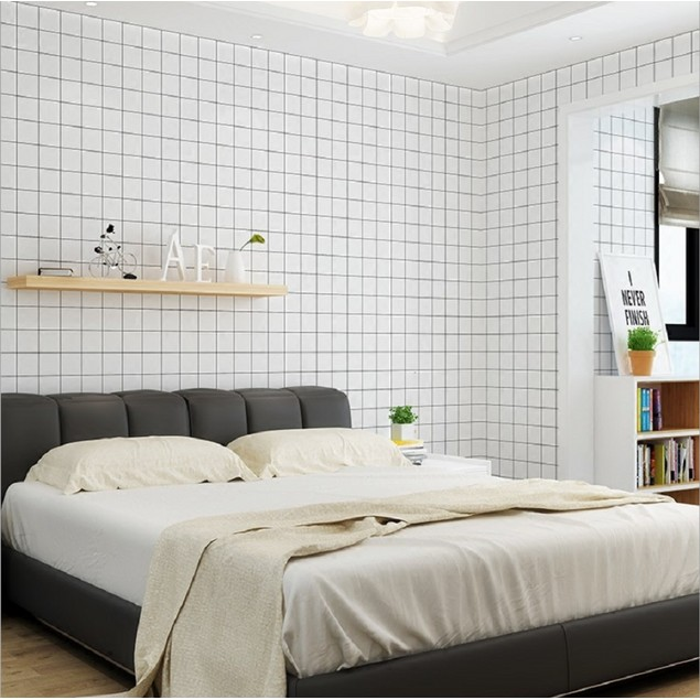 Peel and Stick Wallpaper, 17.7in x 32.8ft, White Plaid and Black Line